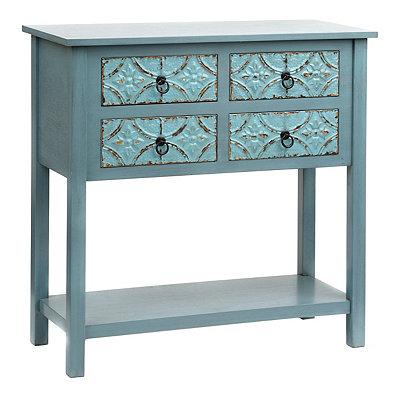Antique Blue Tin Panel Console Table