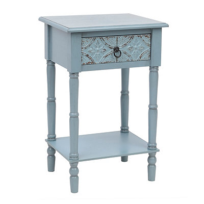 Antique Blue Tin Panel Accent Table