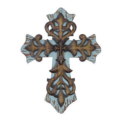 Distressed Blue & Bronze Cross