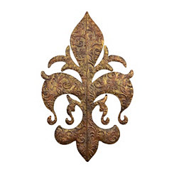 Distressed Gold Metal Fleur-de-Lis