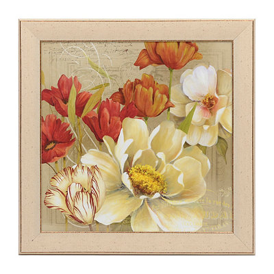 Red & White Floral I Framed Art Print