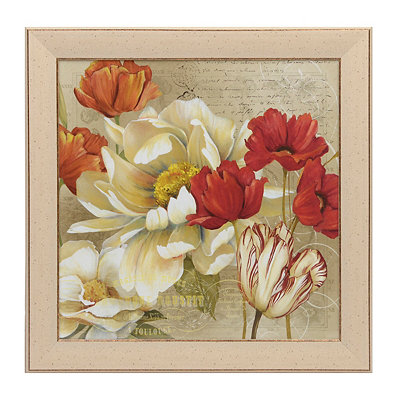 Red & White Floral II Framed Art Print