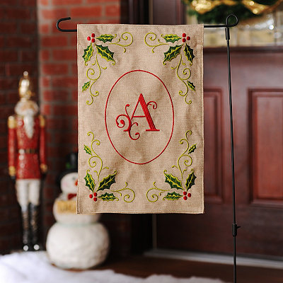 Burlap Holly Monogram A Flag