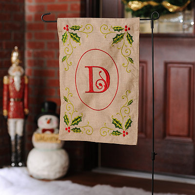 Burlap Holly Monogram D Flag