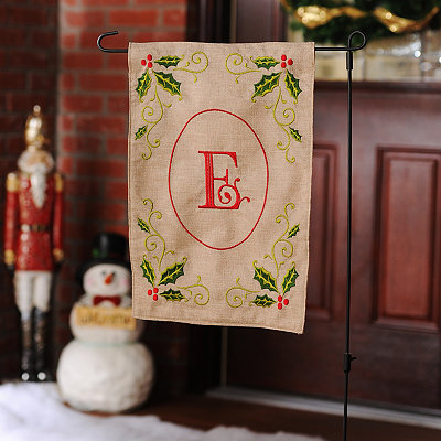 Burlap Holly Monogram E Flag