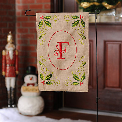Burlap Holly Monogram F Flag