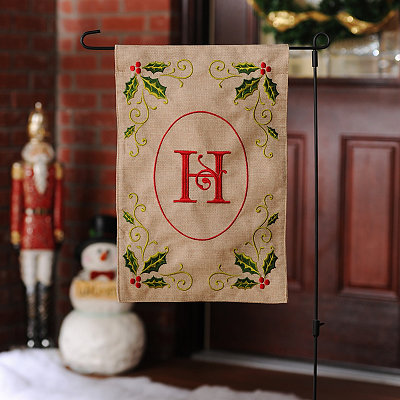 Burlap Holly Monogram H Flag