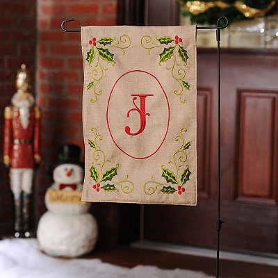 Burlap Holly Monogram J Flag