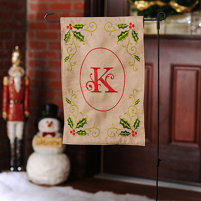 Burlap Holly Monogram K Flag