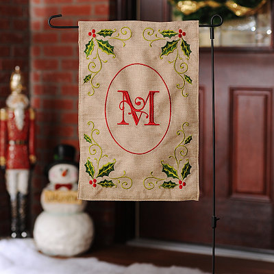 Burlap Holly Monogram M Flag