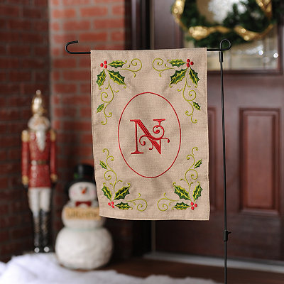 Burlap Holly Monogram N Flag