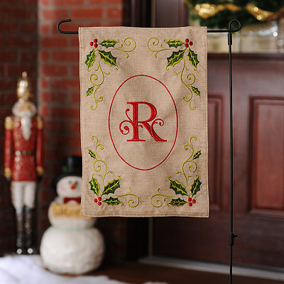 Burlap Holly Monogram R Flag