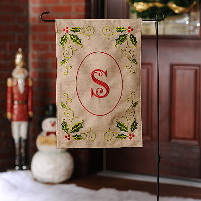 Burlap Holly Monogram S Flag