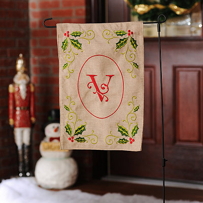 Burlap Holly Monogram V Flag