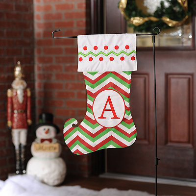 Chevron Monogram A Stocking Flag