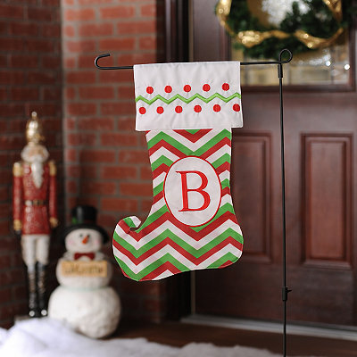 Chevron Monogram B Stocking Flag