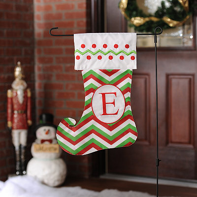 Chevron Monogram E Stocking Flag