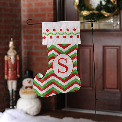Chevron Monogram S Stocking Flag