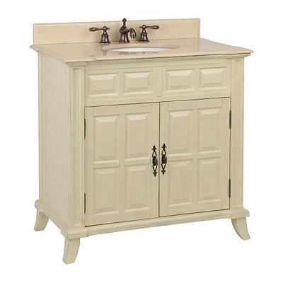 Ivory 2-Door Vanity Sink, 36 in.