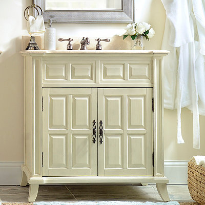 Ivory 2-Door Vanity Sink, 36 in.