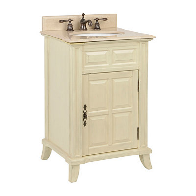 Ivory Single Door Vanity Sink, 24 in.