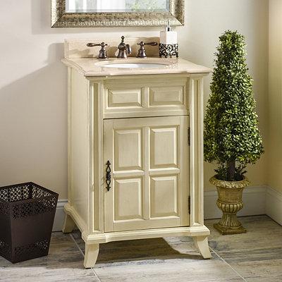 Ivory Single Door Vanity Sink, 24 in.