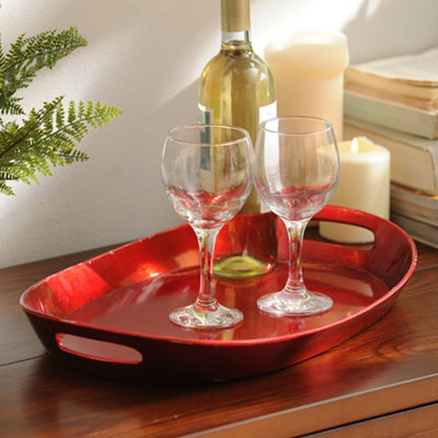 Metallic Red Oval Tray