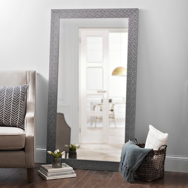 silver woven framed mirror 38x68 in
