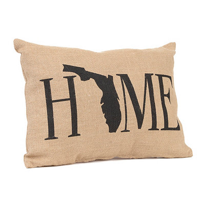Florida Home Burlap Pillow