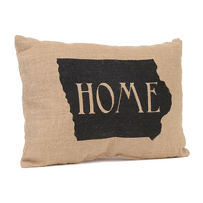 Iowa Home Burlap Pillow