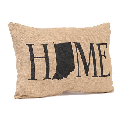 Indiana Home Burlap Pillow
