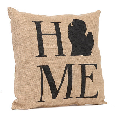 Michigan Home Burlap Pillow
