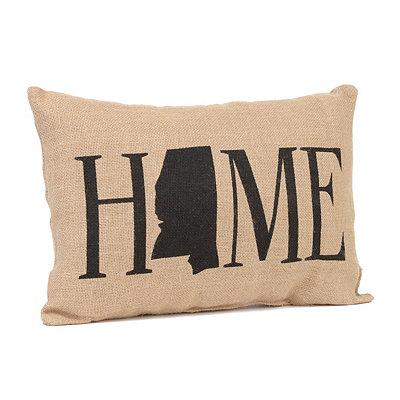 Mississippi Home Burlap Pillow