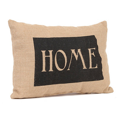 North Dakota Home Burlap Pillow