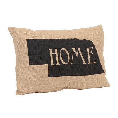Nebraska Home Burlap Pillow