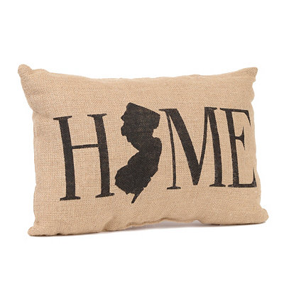 New Jersey Home Burlap Pillow