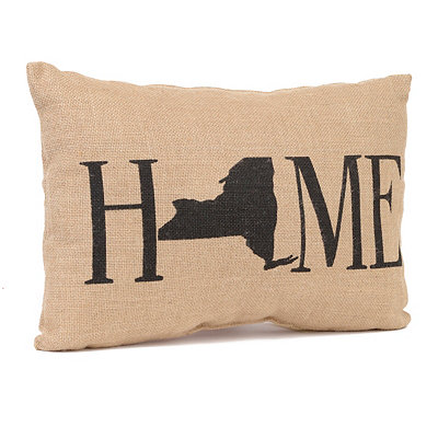 New York Home Burlap Pillow