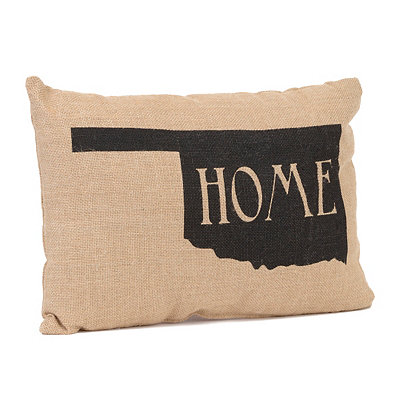 Oklahoma Home Burlap Pillow