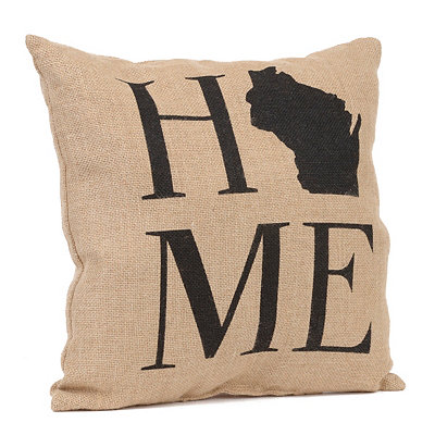 Wisconsin Home Burlap Pillow