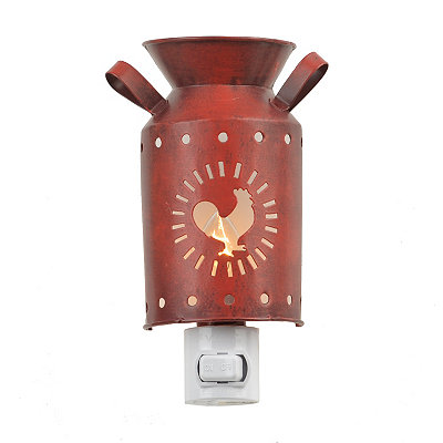 Red Rooster Milk Can Night Light