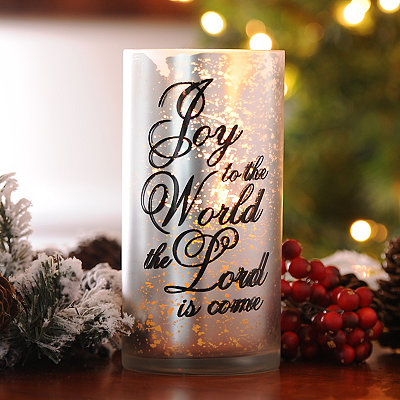 Joy to the World Mercury Glass Candle Holder