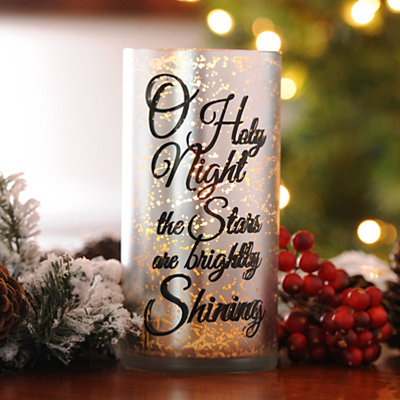 O Holy Night Silver Mercury Glass Candle Holder