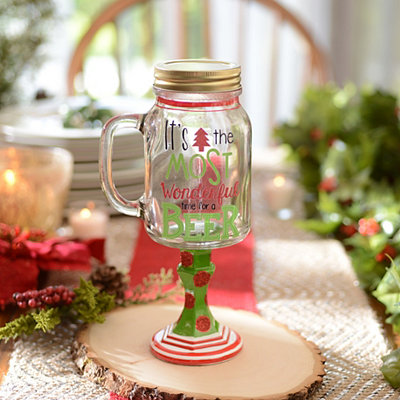 Most Wonderful Time for Beer Mason Jar Glass