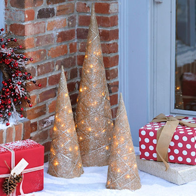 Pre-Lit Champagne Cone Trees, Set of 3