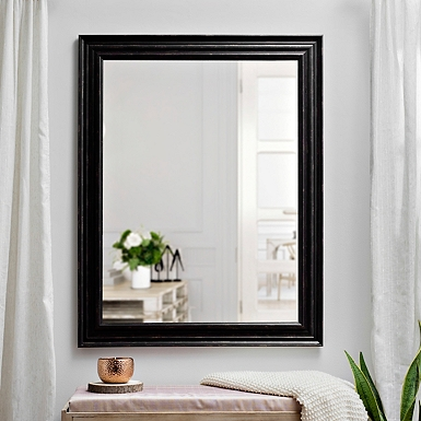 distressed coffee bean framed mirror 37x47 in - White Framed Mirrors