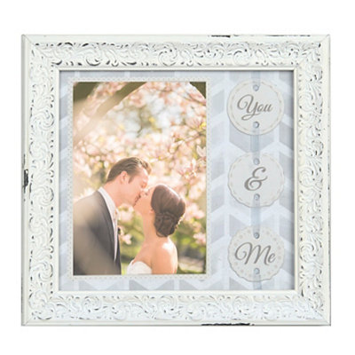 You & Me Distressed White Picture Frame, 5x7