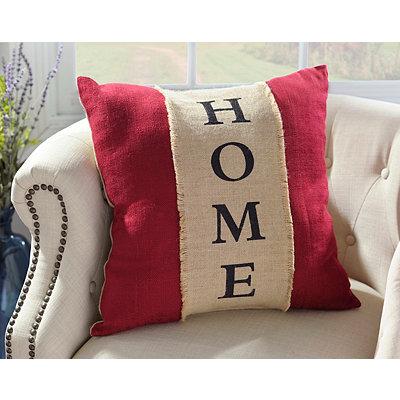 Red Burlap Home Pillow