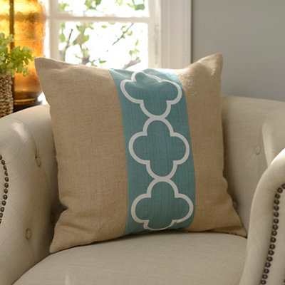 Blue Quatrefoil Burlap Pillow