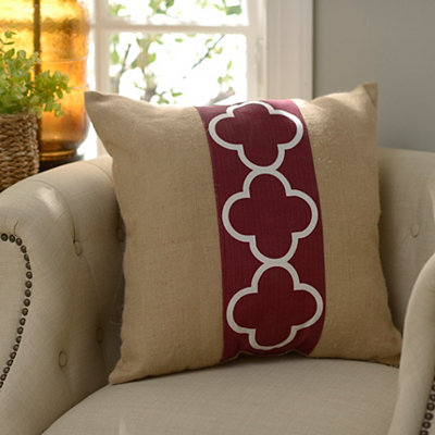 Red Quatrefoil Burlap Pillow