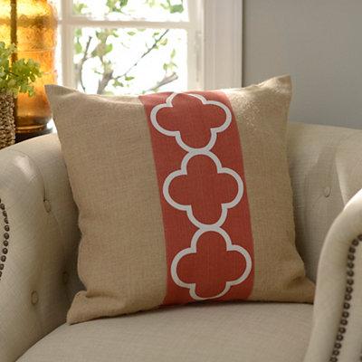 Spice Quatrefoil Burlap Pillow
